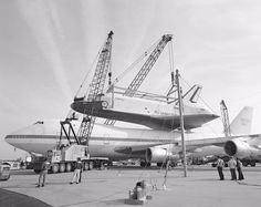 November 17, 1985: Space Shuttle Enterprise is removed from NASA's 747 shuttle carrier aircraft (SCA) at Dulles Airport for transfer to the Smithsonian.