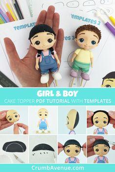 Girl & Boy - Cake Topper PDF tutorial with TEMPLATES - cute, fondant, gum paste, figurine, birthday, kids, step by step