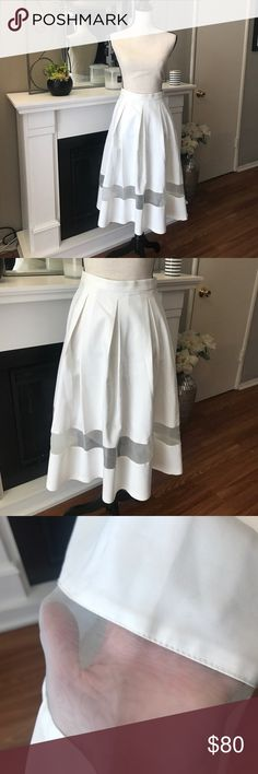 Topshop white High waisted pleated skirt! Absolutely beautiful!  Size 6, high quality material with sheer mesh just under the knee. Topshop Skirts