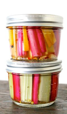 Spicy Pickled Swiss Chard Stems Recipe - Heartbeet Kitchen ~ a delicious way to use those beautiful stems instead of throwing them in the garbage. Swiss Chard Recipes, Rainbow Swiss Chard Recipe, Rainbow Chard Recipes, Bette, Do It Yourself Wedding, Fermented Foods, Canning Recipes, Canning Tips, Veggie Recipes