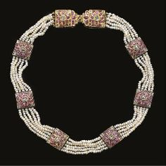 INDIAN DIAMOND AND RUBY INSET AND ENAMELLED PANELLED GOLD NECKLACE  PROBABLY JAIPUR, NORTH INDIA, 19TH CENTURY