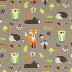 0 forest animals and mushroom pattern Cotton sol forestier