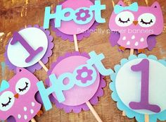 Owl Cupcake Toppers by PerfectlyPaperBanner on Etsy