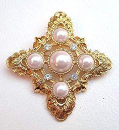 Vintage KENNETH LANE KJL Pendant Pin Brooch Maltese Cross Pearl Cabochons Ice Rhinestones & Gold Tone ~ Designer Signed