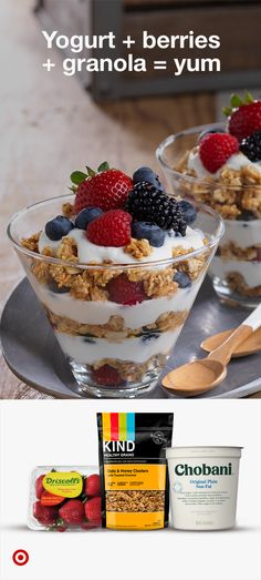 Yogurt + berries + granola = yum. Get ingredients for a delicious yogurt parfait.
