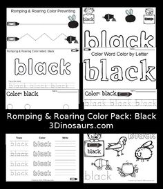 Free Romping & Roaring Color Black Word Pack - 8 pages of activities - 3Dinosaurs.com