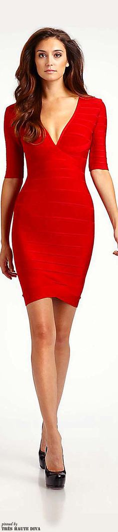 Date night-Herve Leger V-Neck Bandage Dress