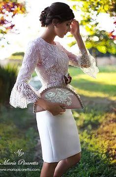 Ideas for dress wedding invitada vestidos Beautiful Dresses, Cute Dresses, Short Dresses, Dresses With Sleeves, Formal Dresses, Jw Mode, Lace Dress, White Dress, Special Occasion Dresses