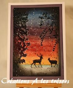 Magenta: Watercolor Winter scene. Link gives an outline of how this card was made as well as names of the stamps used.