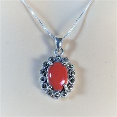 """Sterling Silver Red Agate  and Marcasite Stone Pendant Necklace, 18"""""""