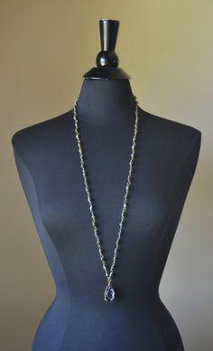 Blue Labradorite Druzy Geode Rosary Necklace by MarcieRoxx on Etsy, $65.00