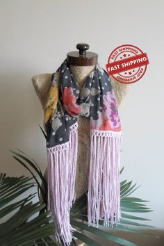 Chiffon fringed scarf women accessories scarves by AtlasScarf
