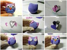 Como hacer un mini buho en porcelana fria