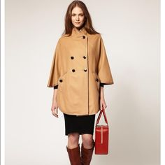 French Connection Military Camel Cape Amazingly chic and cool for Winter!! This amazing cape will make you the chicest girl in town! Perfect to cover up your everyday look and make you stand out!! It has been previously own but still a classic!!! Made in Romania. 10% cashmere. Comes with extra Button*** French Connection Jackets & Coats Capes