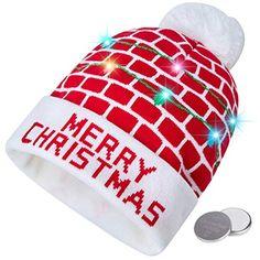 ca93779039778e RAISEVERN Unisex Ugly LED Christmas Hat Novelty Colorful Light-up Stylish  Knitted Sweater Xmas Party Beanie Cap(6 Lights)