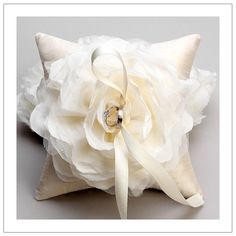 PERFECT!!! This matches my dress completely...with the exception of the pillow cover... purple  with a white flower. #RingPillow
