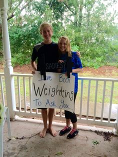 How I asked him to Sadie Hawkins dance- weightlifting themed!