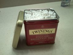 Q-Tips fit perfectly in a twinings tin and they stay clean and dry in your bathroom.