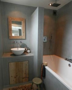 Badkamer on pinterest interieur toilets and bathroom - Badkamer beton wax ...