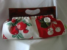 Vintage Bakelite Clutch Bag with Red Cherry Fabric by by fancibags, $100.00