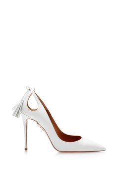 Forever Marilyn White Leather Pumps with Cut-Out by Aquazzura Now Available on Moda Operandi