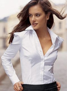 White Shirt Outfits, Sexy Outfits, Chic Outfits, White Shirts Women, Blouses For Women, Scarf Shirt, Girls Blouse, Equestrian Outfits, Business Dresses