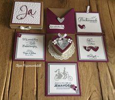 Money Gift / Explosion Box / Congratulations Card for Wedding Heart Box Geldgeschenk / Explosionsbox