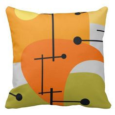 Juxtaposing Thoughts a mid century modern style pillow.