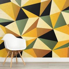 yellow-and-green-pattern-design-square-wall-murals Normal Wallpaper, Standard Wallpaper, How To Hang Wallpaper, Wall Wallpaper, Pattern Wallpaper, Mustard And Grey Wallpaper, Geometric Wallpaper Murals, Wall Painting Decor, Diamond Wall
