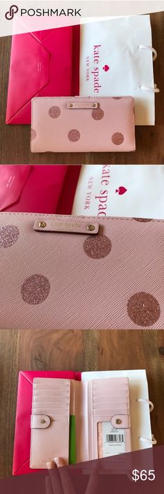 """NWT Kate Spade Haven Lane Stacy Wallet Brand new never used with tags. Kate Spade Haven Lane Stacy Wallet drkbltslpr (675) color. Zipper pocket in back. ID window, 4 cash slots, 13 card slots with snap closure inside. Approx 7"""" x 3.5"""". Comes with Kate Spade shopping bag and tissue paper. kate spade Bags Wallets"""
