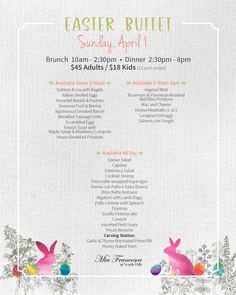 2018 Sunday Easter Brunch - http://miafrancescaraleigh.com/event/2018-sunday-easter-brunch/