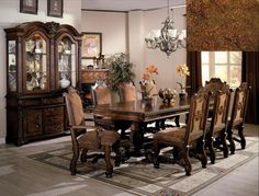 WCC Furniture - Lafayette, LA Neo Renaissance Dining Table, 2 Arm Chairs & 4 Side Chairs