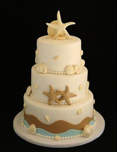 Beach Cake... This is the cake I want for the dream beach wedding I want!!! <3