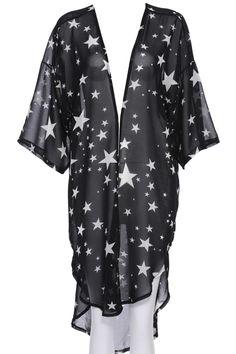 ROMWE   ROMWE Star Print Long-sleeved Sheer Black Cardigan, The Latest Street Fashion