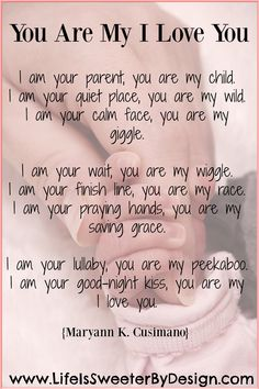 A beautiful poem that describes a parent's love for their child! This poem says so much and is so touching!