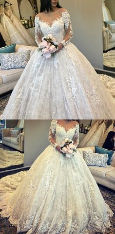 Vintage Long Sleeves Lace Ball Gown Wedding Dresses Illusion Neckline #vintagedresses