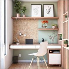 60 Comfortable Home Office Ideas to Inspire. home office ideas; small home office; There is a need for a home office, especially for those who work at home or need continue unfinished work at home. A good workspace… Office Nook, Home Office Space, Home Office Desks, Study Office, Cozy Office, Closet Office, Home Office Shelves, Desk Nook, Home Office Table
