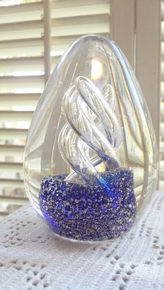 Vintage Eggshaped Cobalt Blue Glass Paper Weight by PattiesPassion, $49.99