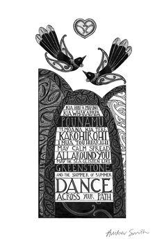 May calm spread all around you, may the sea glisten like greenstone, and the shimmer of summer dance across your path - Kia horo te marino, kia whakapapa pounamu, te moana kia tere karohirohi mua tou haurahi. New Zealand Houses, Maori Designs, Nz Art, Maori Art, Kiwiana, Cross Stitch Heart, My Roots, Sign Printing, Prints For Sale