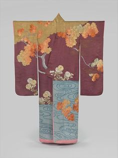 "Outer Robe (Uchikake) with Maple Tree and River, first half of the 20th century. Japan. The Metropolitan Museum of Art, New York. Anonymous Gift, in honor of Mr. and Mrs. Herbert H. Cory, 1962 . (62.180).  The colorful leaves of a maple tree with a river beneath its branches are no doubt an allusion to Tatsuta River, which is famous in classical literature as a place for viewing autumn leaves. The river flows in Nara prefecture and was familiar to pilgrims traveling to the Tatsuta Shrine. Tatsuta River is featured in many classical court poems, and the image of a bright brocade of fallen maple leaves floating on the surface of the river became a symbol of the autumn season. Chrysanthemums are also depicted, and, besides being the representative seasonal flower, they might also refer to the legend of the Chrysanthemum Boy (Kikujidō), who achieved immortality by drinking dewdrops from the flowers.   This robe was prepared for a young upper-class woman. The satin damask fabric features a complex woven design of bridges, pines, and mist, while the white-spotted pattern of the water in the lower part of the textile was created by means of a technique called kanoko shibori, literally ""fawn spot tie-dyeing."" The maple leaves and chrysanthemums were embroidered with silk and metallic thread.  Text by the MET museum"