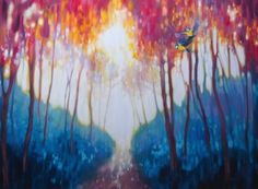 Title:Gems of the Spring Forest - a colorful birds and trees landscape; Artist Name:Gill Bustamante; Description:A 36 x 48 x inches original oil painting of tw. Art Paintings For Sale, Modern Art Paintings, Landscape Paintings, Original Paintings, Original Art, Oil Paintings, Spring Forest, Traditional Artwork, Bird Tree