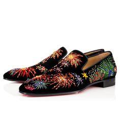Men Shoes - Henri On Fire Velvet Brode Fireworks - Christian Louboutin Mens Loafers Shoes, Suit Shoes, Men's Shoes, Shoe Boots, Dress Shoes, Male Shoes, Louboutin Online, Mens Designer Shoes, Mens Slippers