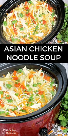 Asian Chicken Noodle Soup in the Slow Cooker - this soup recipe is really tasty! Asian Chicken Noodle Soup in the Slow Cooker - this soup recipe is really tasty! Asian Chicken Noodle Soup, Asian Soup, Chicken Soup Recipes, Easy Soup Recipes, Healthy Recipes, Crock Pot Soup Recipes, Ginger Chicken Soup, Chicken Noodles, Crock Pots