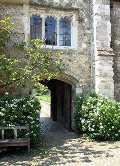 Stone house and cobblestone courtyard--love it!  Ightham Mote (Ightham, Kent, England, UK)