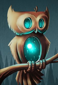 blue and brown owl