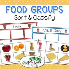 This is a sorting & classifying activity to teach students about food groups. This set contains classification cards for Bread & Grains, Vegetables, Fruits, Meat & Eggs, Milk & Dairy, and Sweets. This is a great activity for a classroom Science Center for Preschool, Pre-K, Kindergarten, & First Grade. The activity uses real photographs of the foods.