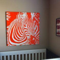 everywhere orange: Orange Zebra Painting in the nursery