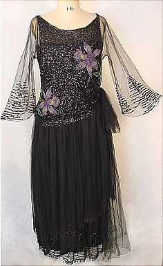 c. 1921 Black Evening Dress.  Utterly modern.  Will steal the sleeves to add to another dress that is less timeless.