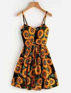 Sunflower Print Random Crisscross Back Cami Dress