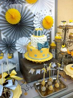 Ideas for baby shower boy- Love the yellow and gray... getting out of the every boy shower that has blue